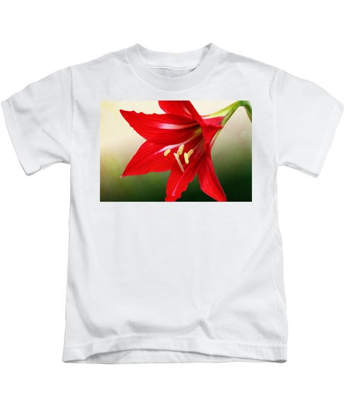 Red Lily Flower Kids T-Shirt