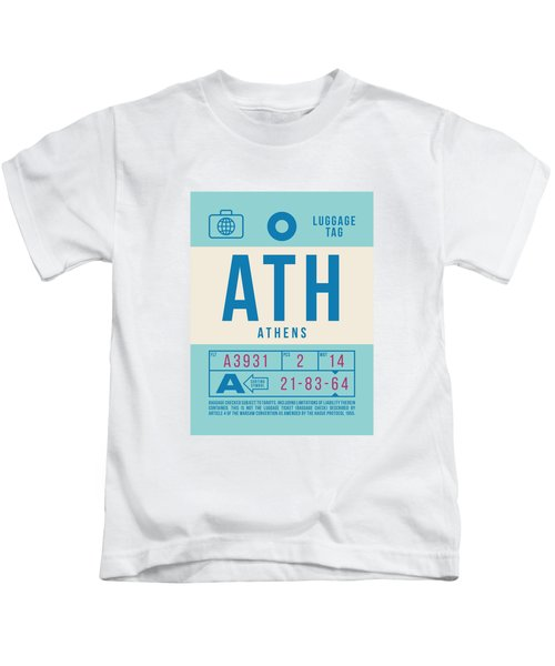 Retro Airline Luggage Tag 2.0 - Ath Athens Greece Kids T-Shirt