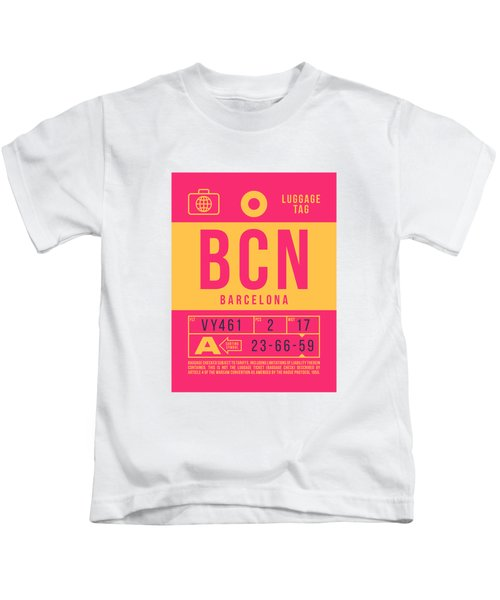 Retro Airline Luggage Tag 2.0 - Bcn Barcelona Spain Kids T-Shirt