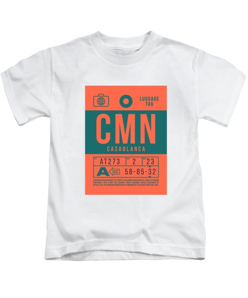 Retro Airline Luggage Tag 2.0 - Cmn Casablanca Morocco Kids T-Shirt