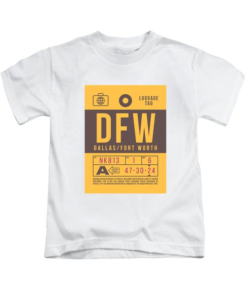Retro Airline Luggage Tag 2.0 - Dfw Dallas Fort Worth United States Kids T-Shirt