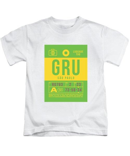 Retro Airline Luggage Tag 2.0 - Gru Sao Paulo Brazil Kids T-Shirt