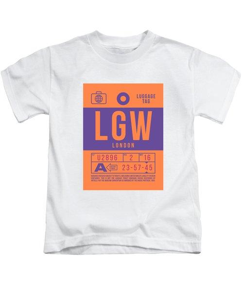 Retro Airline Luggage Tag 2.0 - Lgw London Gatwick Airport United Kingdom Kids T-Shirt