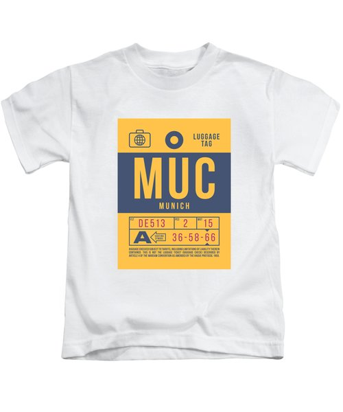Retro Airline Luggage Tag 2.0 - Muc Munich International Airport Germany Kids T-Shirt