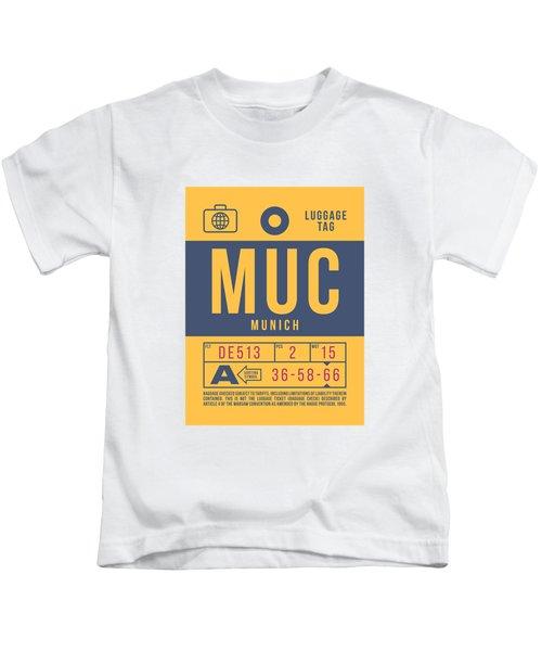 Retro Airline Luggage Tag 2.0 - Muc Munich International Airport Germany Kids T-Shirt