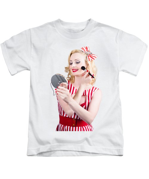 Retro Pin-up Woman Doing Beauty Make-up Kids T-Shirt