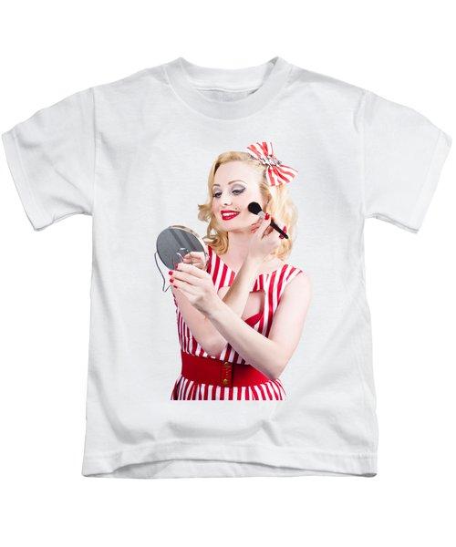 Retro Pin-up Woman Doing Beauty Make-up Kids T-Shirt