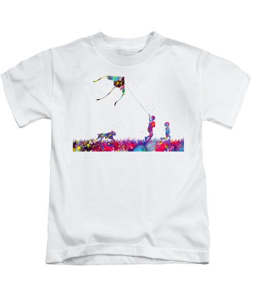 Running Boy And Girl With Flying Kite Kids T-Shirt