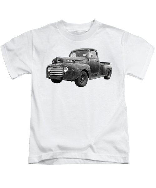 Rusty Ford Farm Truck Black And White Kids T-Shirt
