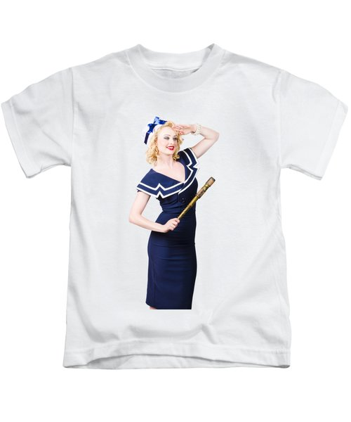 Sailor Girl Pin-up Looking Out To Sea Kids T-Shirt