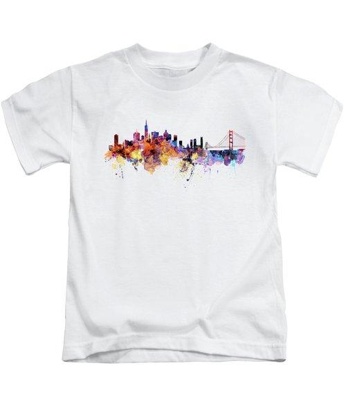 San Francisco Watercolor Skyline Kids T-Shirt
