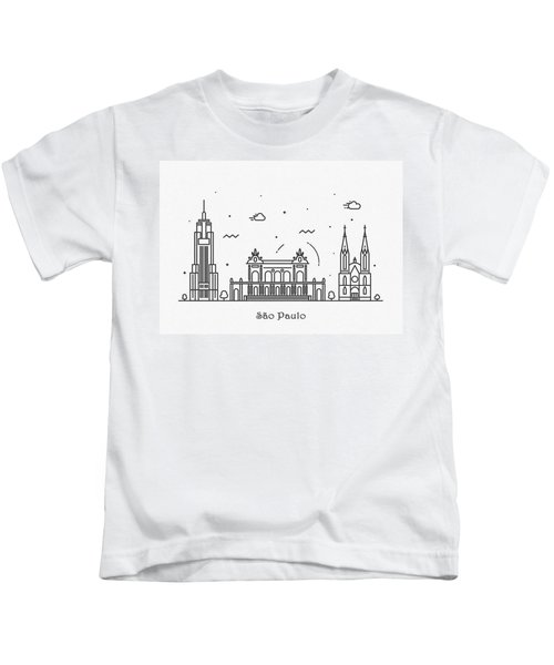 Sao Paulo Cityscape Travel Poster Kids T-Shirt