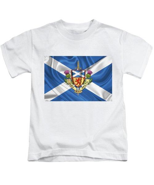 Scotland Forever - Alba Gu Brath - Symbols Of Scotland Over Flag Of Scotland Kids T-Shirt