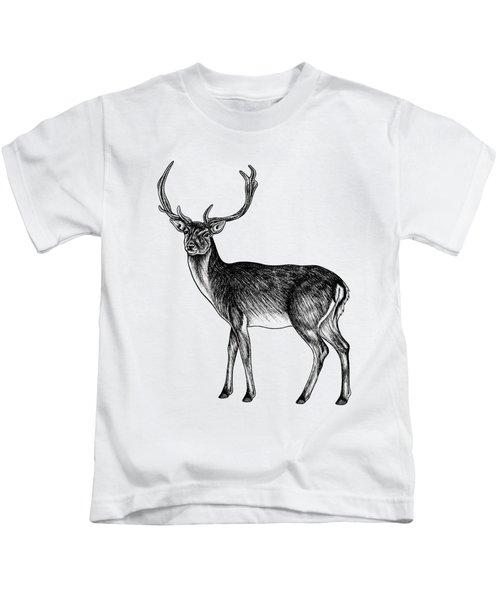 Sika Deer Stag - Ink Illustration Kids T-Shirt