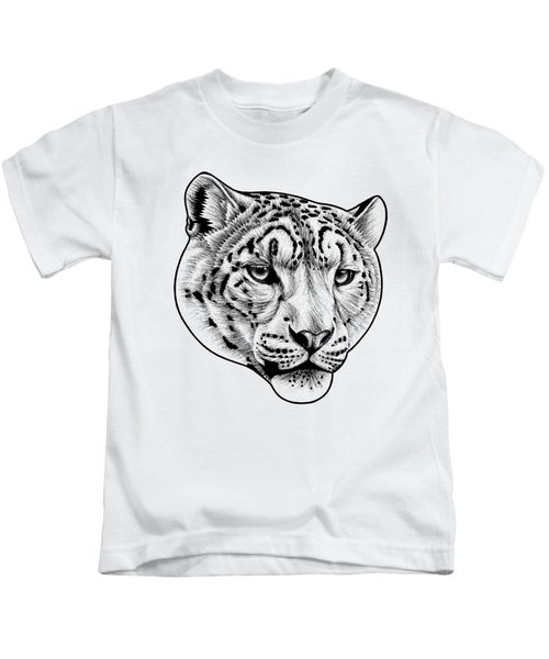 Snow Leopard - Ink Illustration Kids T-Shirt