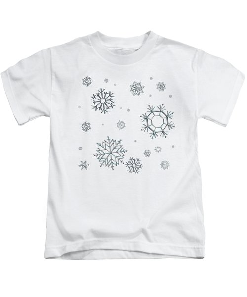 Snowflakes On Blue Kids T-Shirt