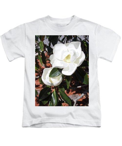 Snowy White Gardenia Blossoms Kids T-Shirt