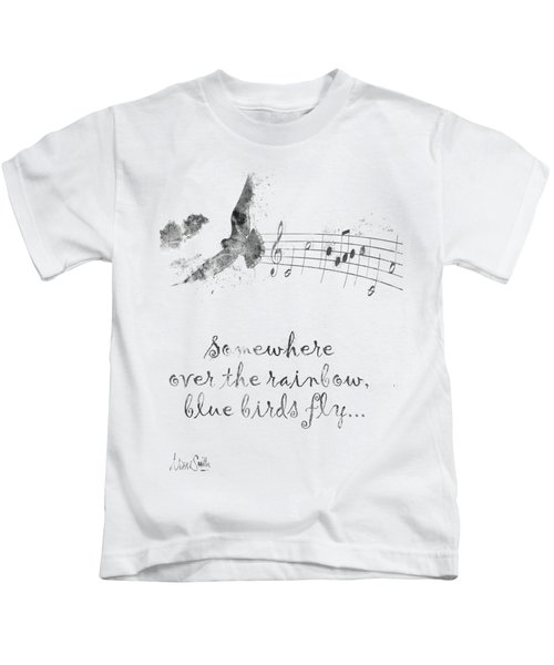 Somewhere Over The Rainbow In Black And White Kids T-Shirt