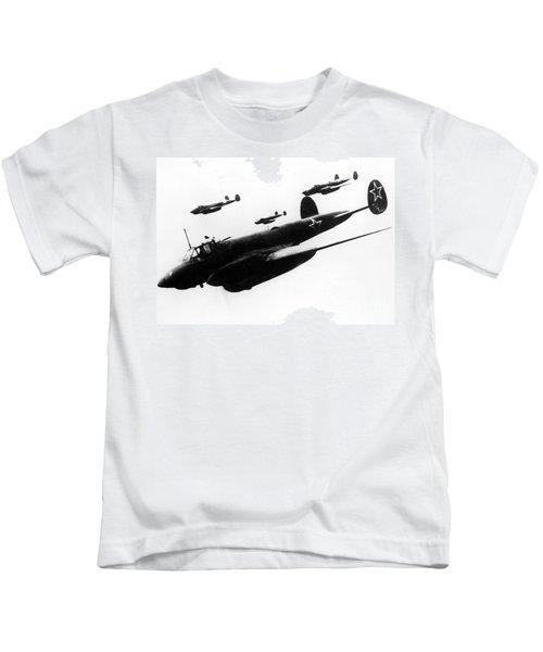 Soviet Dive-bombers Petlyakov-2 Attack Finnish Military Objective, 1939 Kids T-Shirt