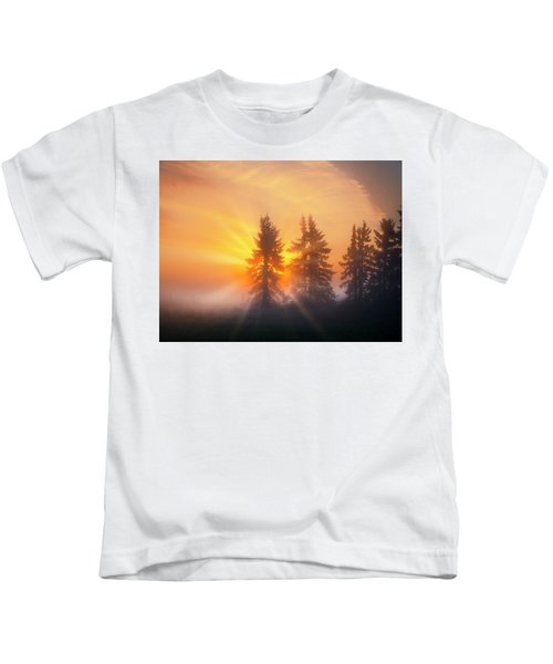 Spruce Trees In The Morning Kids T-Shirt