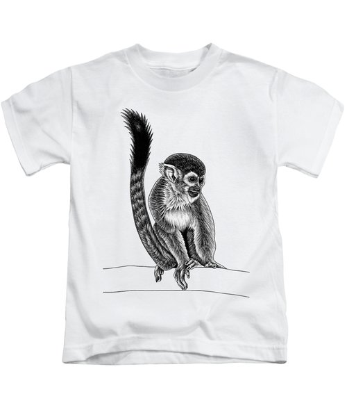 Squirrel Monkey - Ink Illustration Kids T-Shirt
