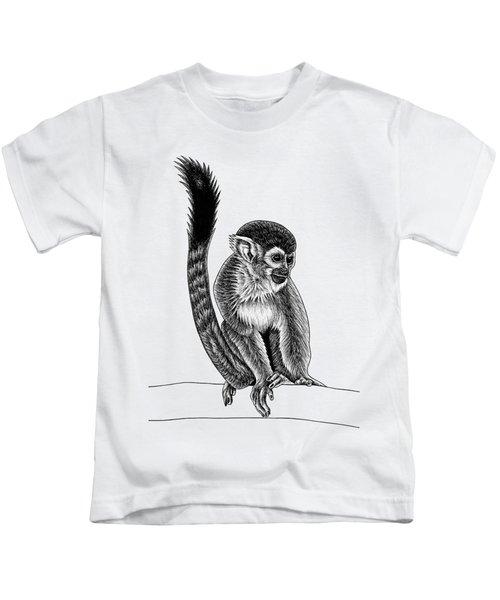 Squirrel Monkey - Ink Illustration Kids T-Shirt