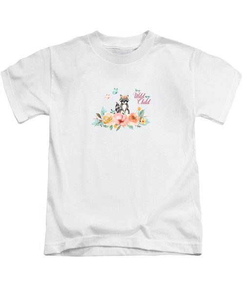 Stay Wild My Child With Raccoon Kids T-Shirt