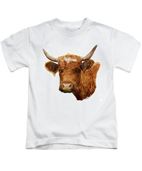 Steer Portrait - Barnyard Bunch Collection Kids T-Shirt