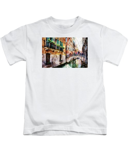 People On Bridge Over Canal In Venice, Italy - Watercolor Painting Effect Kids T-Shirt