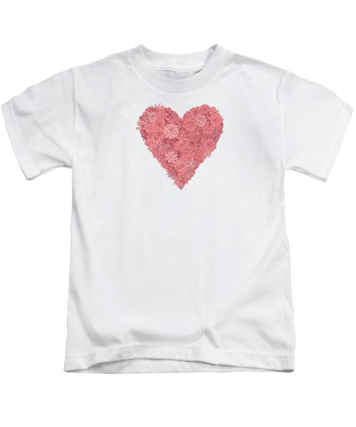 Pink Succulent Heart White Background Kids T-Shirt