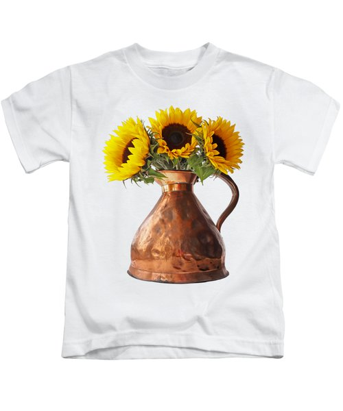 Sunflowers In Copper Pitcher On White Kids T-Shirt