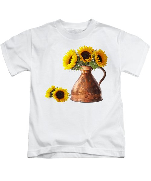 Sunflowers In Copper Pitcher On White Square Kids T-Shirt