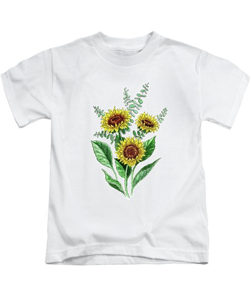 Sunflowers Sunny Bouquet In Watercolor Kids T-Shirt