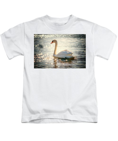 Swan On Golden Waters Kids T-Shirt