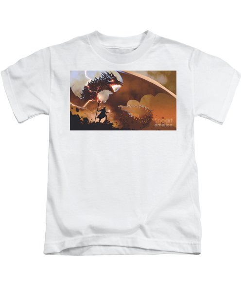 Kids T-Shirt featuring the painting The Dragon Wizard by Tithi Luadthong