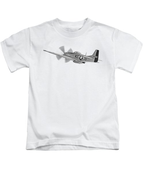 The Mission - P51 Over Dover In Black And White Kids T-Shirt