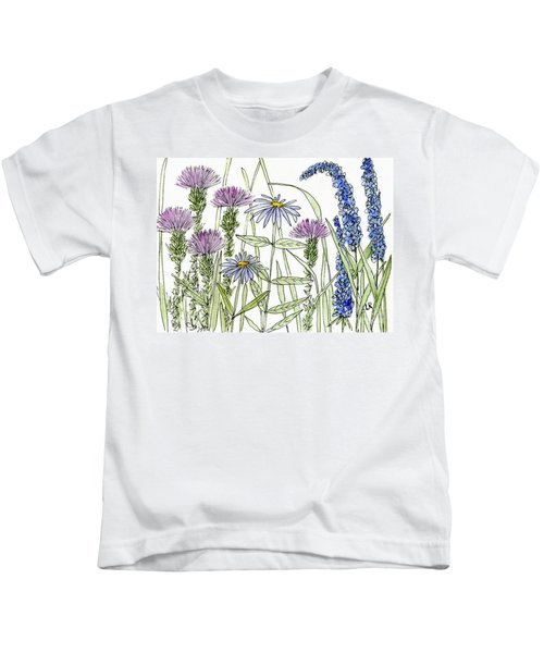 Thistle Asters Blue Flower Watercolor Wildflower Kids T-Shirt