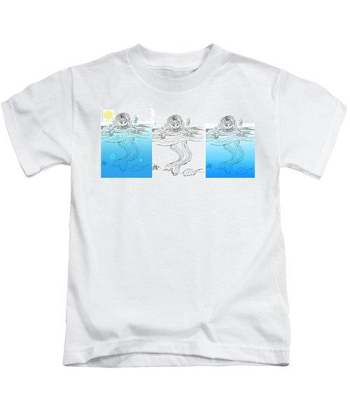 Three Mermaids All In A Row Kids T-Shirt