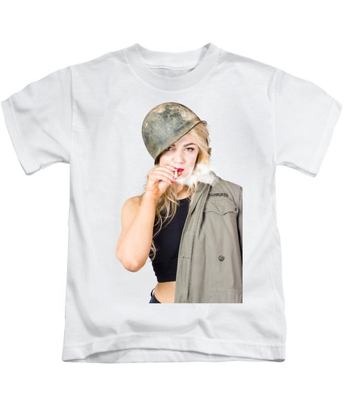 Tough And Determined Female Pin-up Soldier Smoking Kids T-Shirt
