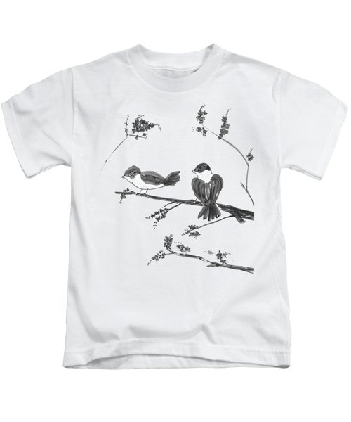Two Birds And Cherry Blossoms Kids T-Shirt