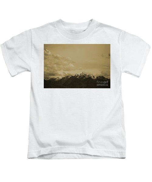 Utah Mountain In Sepia Kids T-Shirt