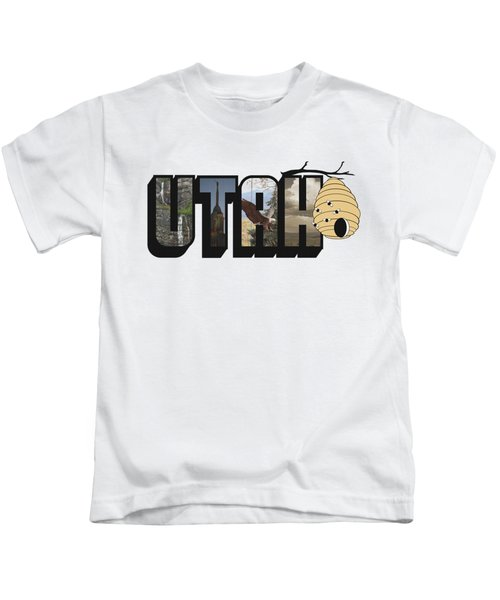 Utah The Beehive State Big Letter Kids T-Shirt