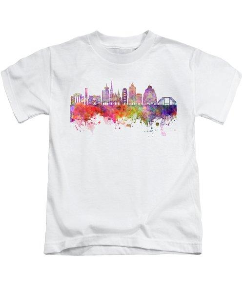 Vancouver V2 Skyline Watercolor Backgropund Kids T-Shirt