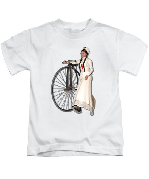 Victorian Nurse Along Penny Farthing Bicycle Kids T-Shirt