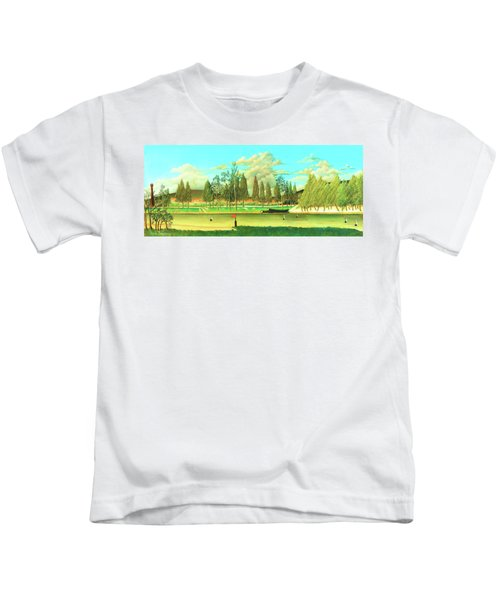 View Of The Quai Asnieres-the Canal And Landscape With Tree Trunks - Digital Remastered Edition Kids T-Shirt