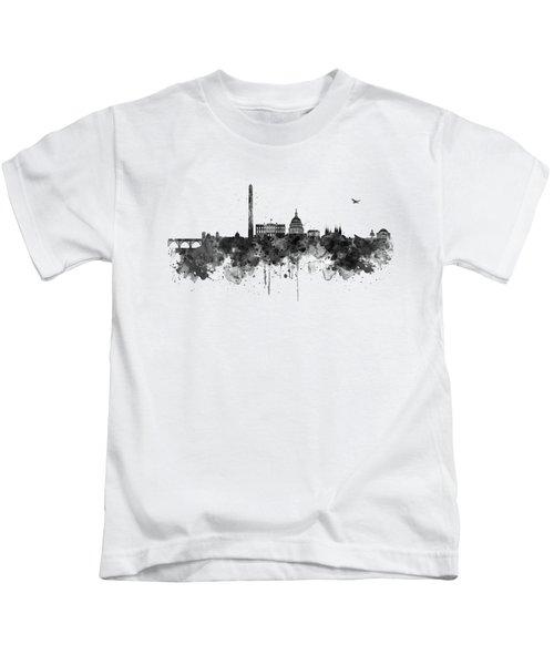 Washington Dc Skyline - Black And White Kids T-Shirt