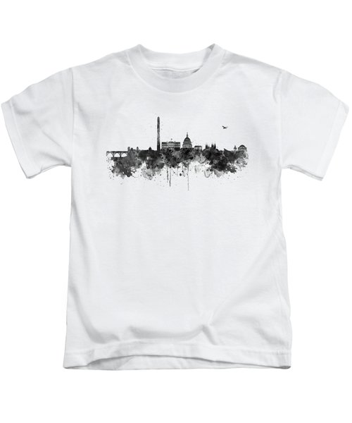 Washington Dc Skyline - Black And White Kids T-Shirt