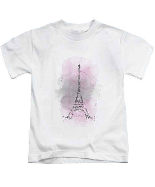 Watercolor Art Eiffel Tower - Pink Kids T-Shirt