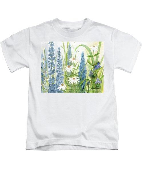 Watercolor Blue Flowers Kids T-Shirt