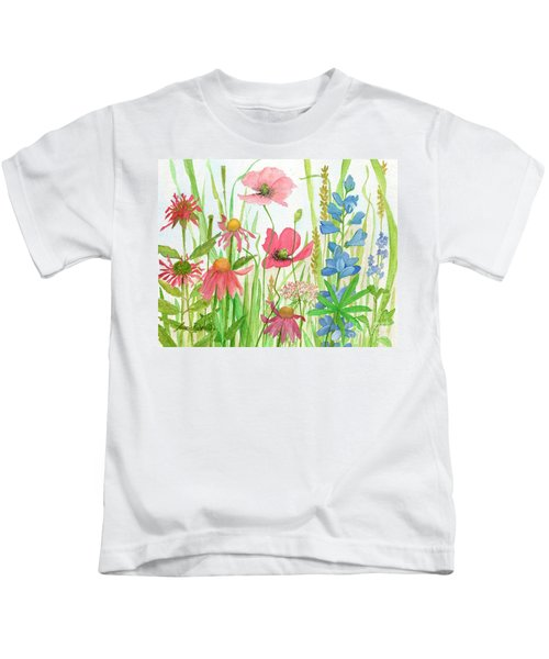 Watercolor Touch Of Blue Flowers Kids T-Shirt